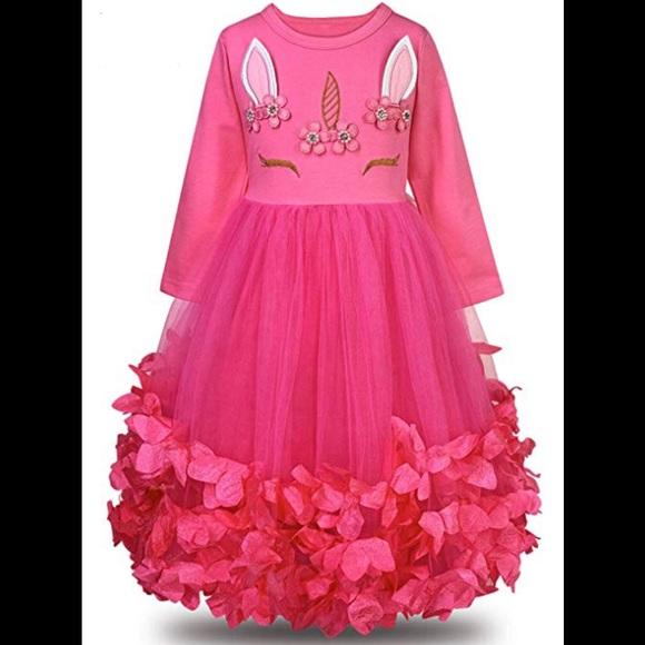 Other - Unicorn Flower Petal Tutu Princess Dress Hot Pink